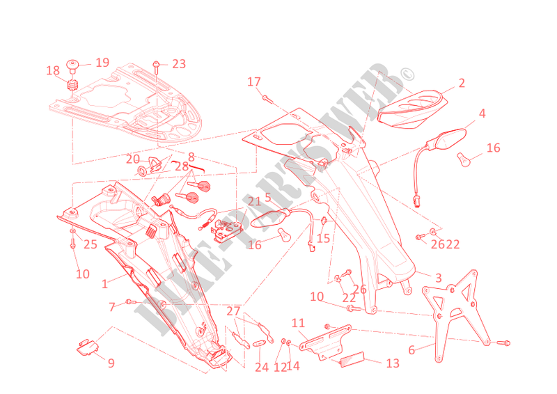 SUPPORT DE PLAQUE   FEU ARRIERE pour Ducati Monster 696 ABS 2011